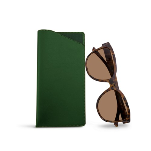 Large Eyeglass Case - Dark Green - Smooth Leather