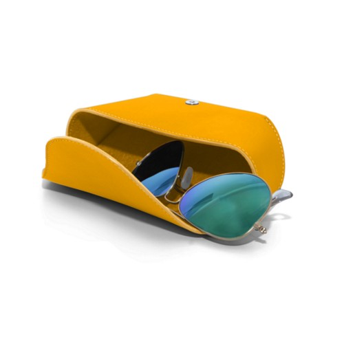 Semi-Rigid glasses belt case - Sun Yellow - Smooth Leather