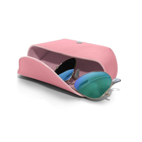 Semi-Rigid glasses belt case - Pink - Smooth Leather