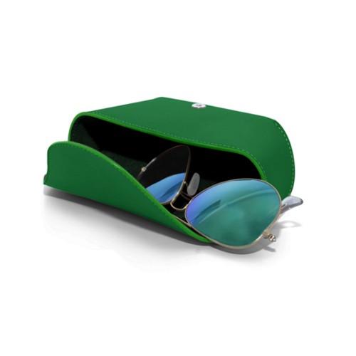 Semi-Rigid glasses belt case - Light Green - Smooth Leather