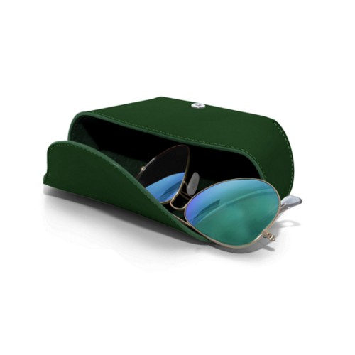 Semi-Rigid glasses belt case - Dark Green - Smooth Leather