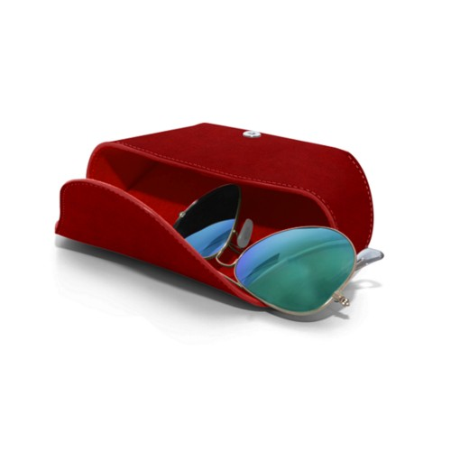 Semi-Rigid glasses belt case - Carmine - Vegetable Tanned Leather