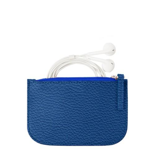 Reißverschluss-Etui für Kopfhörer - Azurblau  - Genarbtes Leder