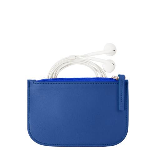 Reißverschluss-Etui für Kopfhörer - Azurblau  - Glattleder