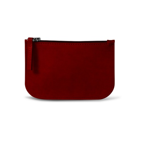 Earphone pouch - Carmine - Vegetable Tanned Leather