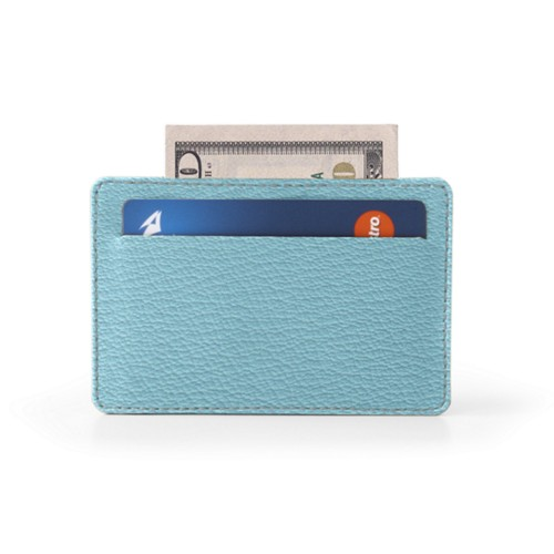 Case for 2 credit cards - Sky Blue - Goat Leather
