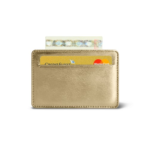 Porte 2 Cartes de Credit - Doré - Cuir Métallisé