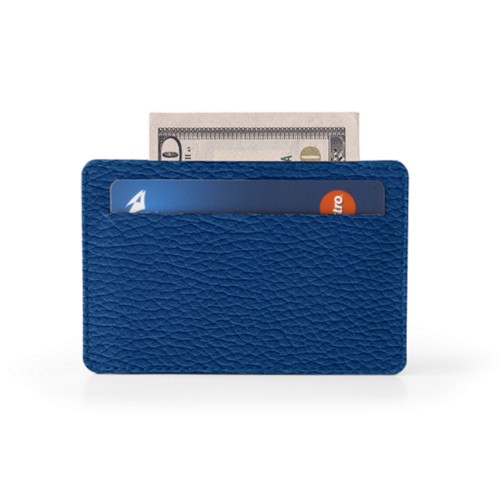 Case for 2 credit cards - Royal Blue - Granulated Leather