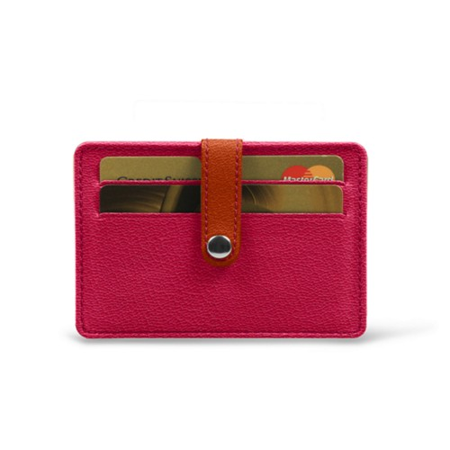 Card wallet for 8 cards - Fuchsia-Orange - Goat Leather