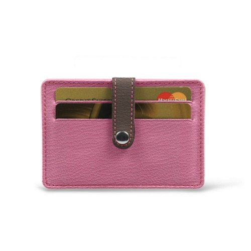 Card wallet for 8 cards - Pink-Dark Taupe - Goat Leather