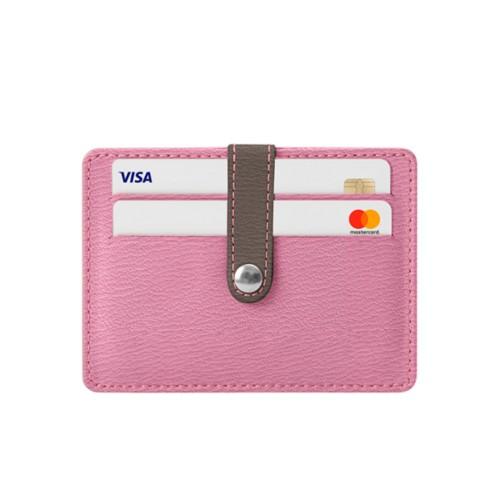 8 Cartera de tarjetas de crédito - Rosa-Marrón topo - Piel de Cabra