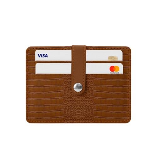8 Cartera de tarjetas de crédito - Camel - Piel Coco Grabado