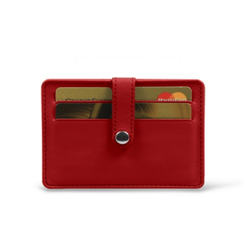 Card wallet for 8 cards - Red - Smooth Leather