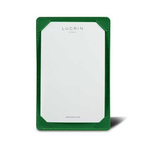 Pocket note pad (13.3 x 8.5 cm) - Light Green - Smooth Leather