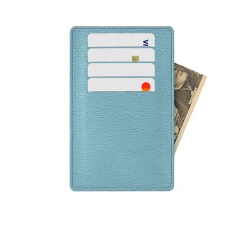 Tarjetero para 8 tarjetas (13 x 8,2 cm) - Azul cielo - Piel de Cabra