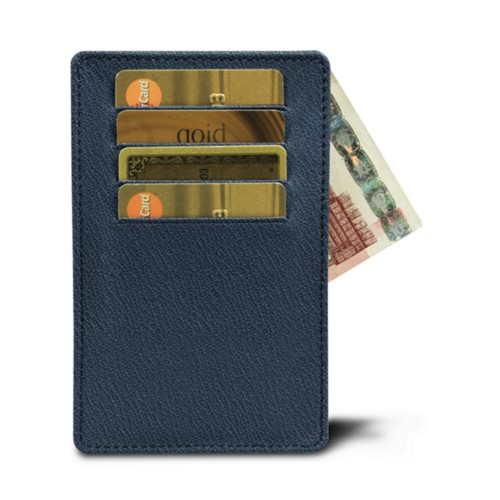 8 cards holder (13 x 8.2 cm) - Navy Blue-Burgundy - Goat Leather