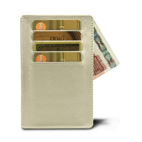 8 cards holder (5.1 x 3.2 inches) - Off-White-Mouse-Grey - Goat Leather