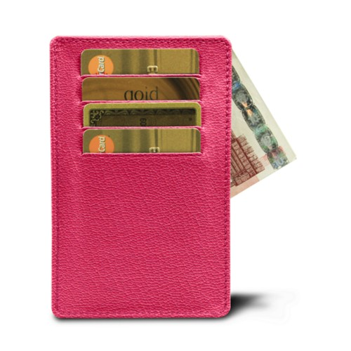 8 cards holder (13 x 8.2 cm) - Fuchsia-Orange - Goat Leather