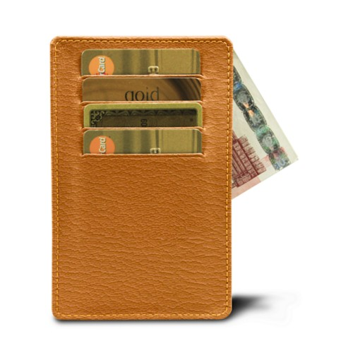 8 cards holder (13 x 8.2 cm) - Saffron-Dark Taupe - Goat Leather