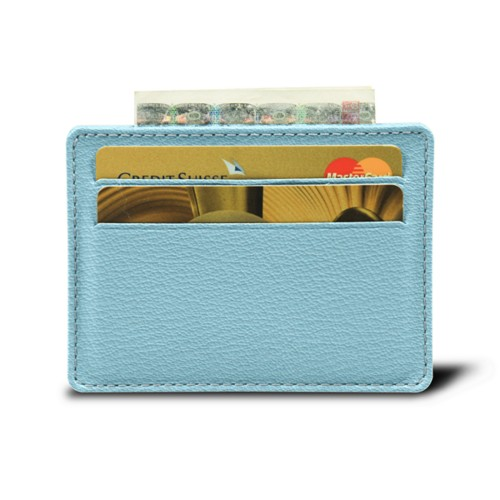Simple 4 cards case - Sky Blue - Goat Leather