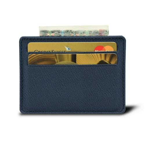 Simple 4 cards case - Navy Blue - Goat Leather
