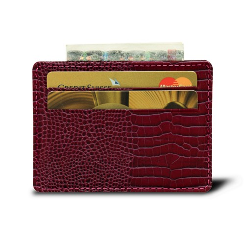 Simple 4 cards case - Fuchsia  - Crocodile style calfskin