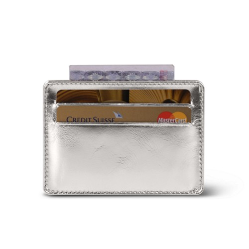 Simple 4 cards case - Silver - Metallic Leather