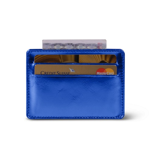 Simple 4 cards case - Royal Blue - Metallic Leather