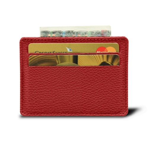 Simple 4 cards case - Red - Granulated Leather
