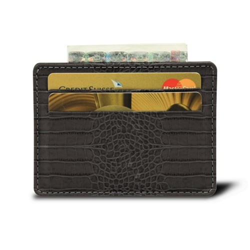 Simple 4 cards case - Mouse-Grey - Crocodile style calfskin