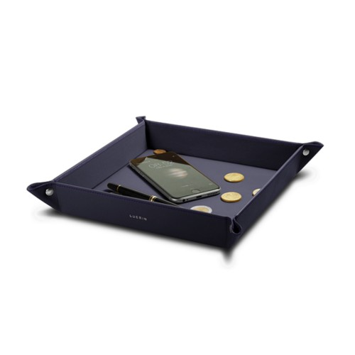 Large square catchall (8.3 x 8.3 x 1.6 inches) - Purple - Smooth Leather