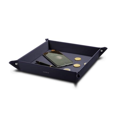 Grote vierkante opruimbak (21 x 21 x 4 cm) - Paars - Soepel Leer