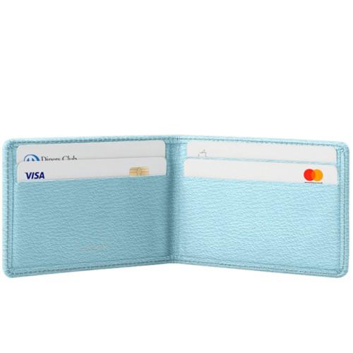 Cartera Tarjetero con 4 Compartimentos - Azul cielo - Piel de Cabra