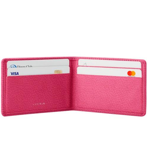 Cartera Tarjetero con 4 Compartimentos - Fuchsia-Naranja - Piel de Cabra