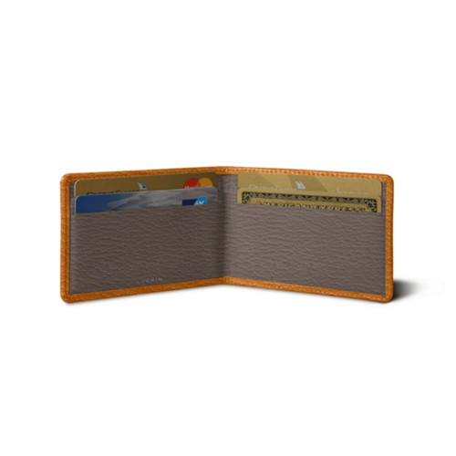 Bi-fold case for 4 cards - Saffron-Dark Taupe - Goat Leather