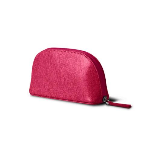 "Makeup bag (6.3 x 3.3"" x 2.1"")"" - Fuchsia  - Goat Leather"
