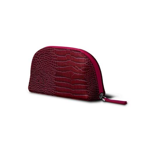 "Makeup bag (6.3 x 3.3"" x 2.1"")"" - Fuchsia  - Crocodile style calfskin"