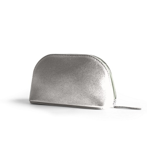 "Makeup bag (6.3 x 3.3"" x 2.1"")"" - Silver - Metallic Leather"