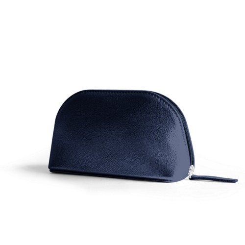 "Makeup bag (6.3 x 3.3"" x 2.1"")"" - Navy Blue - Metallic Leather"