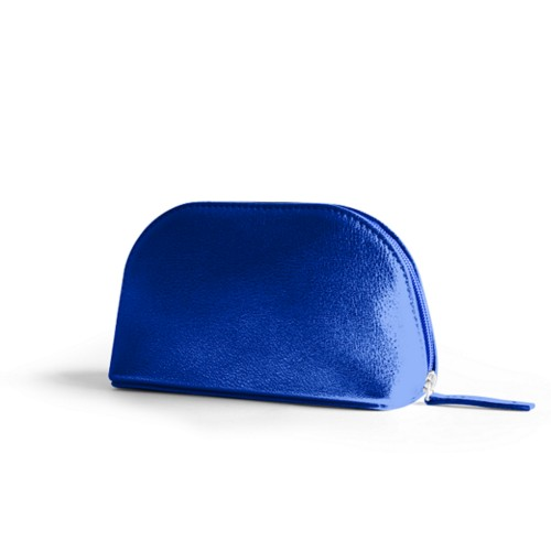"Makeup bag (6.3 x 3.3"" x 2.1"")"" - Royal Blue - Metallic Leather"