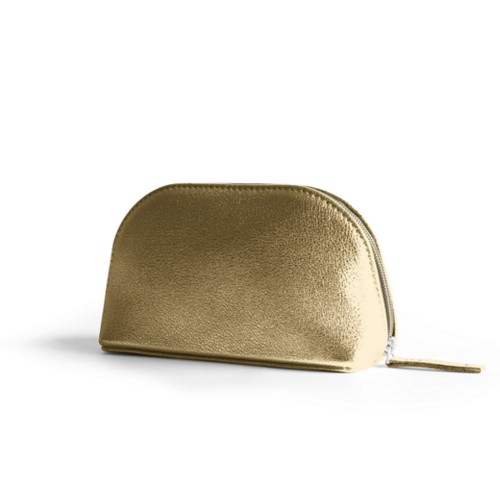 "Makeup bag (6.3 x 3.3"" x 2.1"")"" - Golden - Metallic Leather"