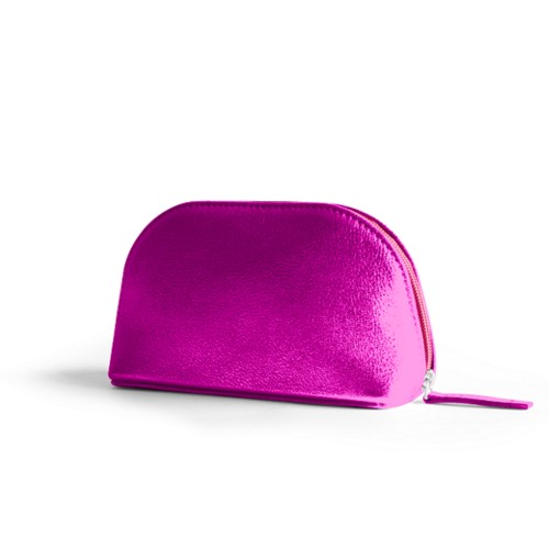 "Makeup bag (6.3 x 3.3"" x 2.1"")"" - Fuchsia  - Metallic Leather"