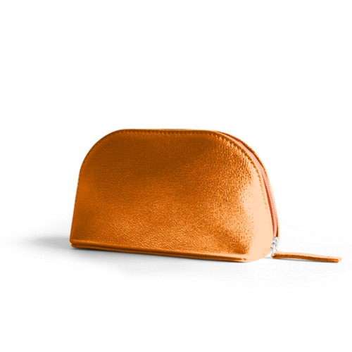 "Makeup bag (6.3 x 3.3"" x 2.1"")"" - Orange - Metallic Leather"