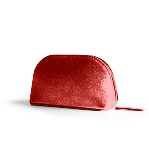 "Makeup bag (6.3 x 3.3"" x 2.1"")"" - Red - Metallic Leather"