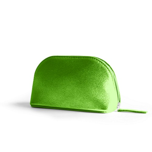 "Makeup bag (6.3 x 3.3"" x 2.1"")"" - Light Green - Metallic Leather"