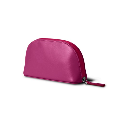 "Makeup bag (6.3 x 3.3"" x 2.1"")"" - Fuchsia  - Smooth Leather"