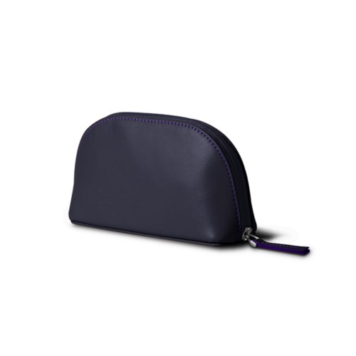 "Makeup bag (6.3 x 3.3"" x 2.1"")"" - Purple - Smooth Leather"