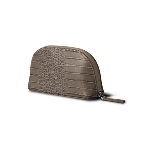 Makeup bag - Light Taupe - Crocodile style calfskin