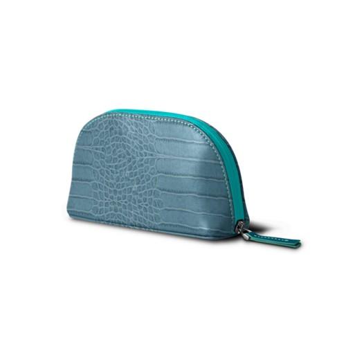Makeup bag - Turquoise - Crocodile style calfskin