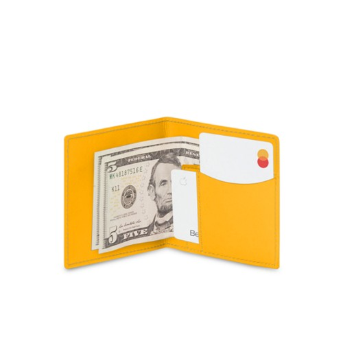 Universal billfold wallet - Sun Yellow - Smooth Leather